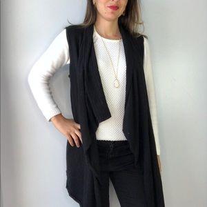 WHBM Black Open Front Sleeveless Cardigan Vest